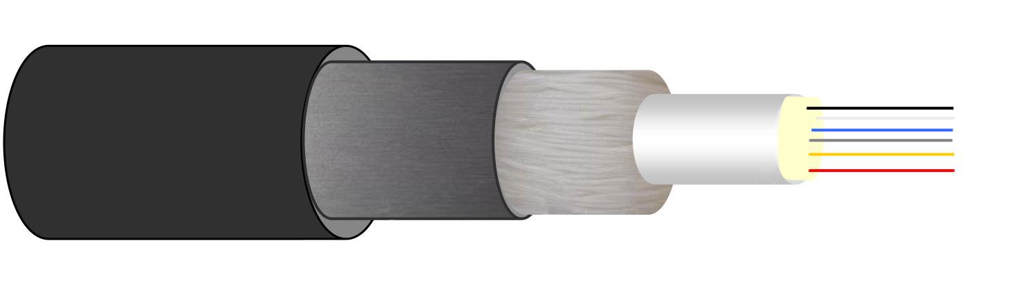 Câble extérieur 8FO 50/125 OM2 gaine PEHD, à structure libre armé acier